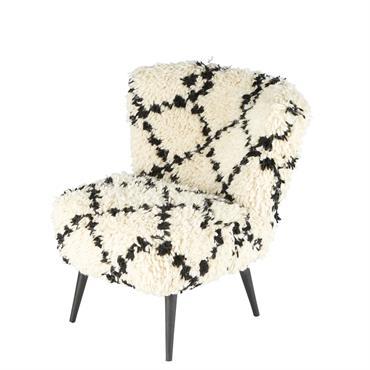 Fauteuil en laine et coton écru quadrillé noir Kabyle