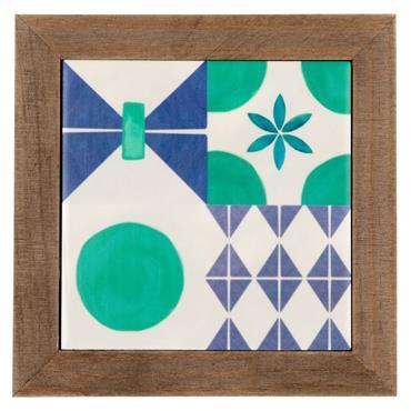 Dessous de plat en faïence motifs graphiques bleus et verts et pin