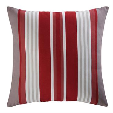 Coussin de jardin en tissu rayé rouge et blanc 45x45 ESPELETTE