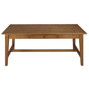 Table à manger 2 tiroirs en pin recyclé 8/10 personnes L200 Arsene