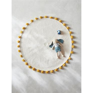 Tapis rond pompons en coton ivoire
