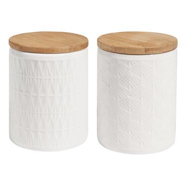 2 bocaux en céramique blanche avec couvercle