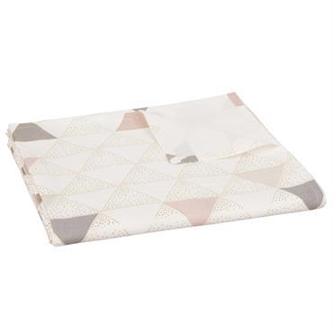 Nappe en coton gris motifs triangles 150x250
