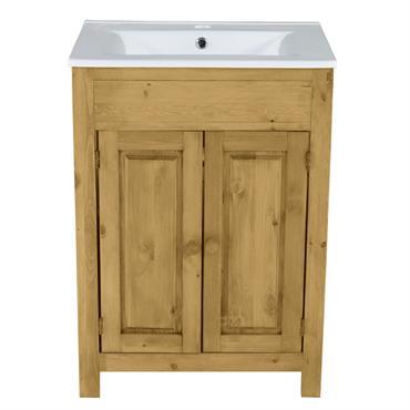 Meuble salle de bain pin massif 2 portes 1 vasque 61 cm