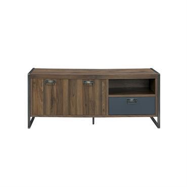 Meuble TV style industriel 1 tiroir et 2 portes H60cm - Marron foncé