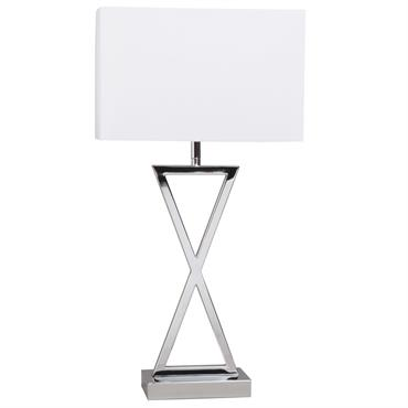 Lampe en métal chromé et abat-jour blanc