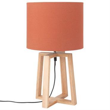Lampe en chêne et abat-jour en coton rouge