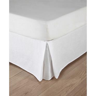Cache-sommier 140x190 en coton et lin lavé blancs Morphée