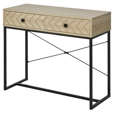 Table console industriel 2 tiroirs