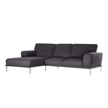 Canapé d'angle gauche 5 places toucher coton anthracite