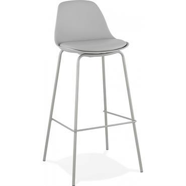 Tabouret de bar assise rembourrée imitation cuir gris