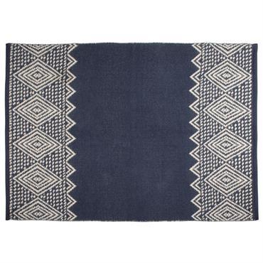 Tapis en coton tissé bleu motifs écrus 90x120