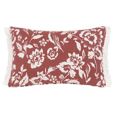 Housse de coussin en coton rouge motif floral 30x50
