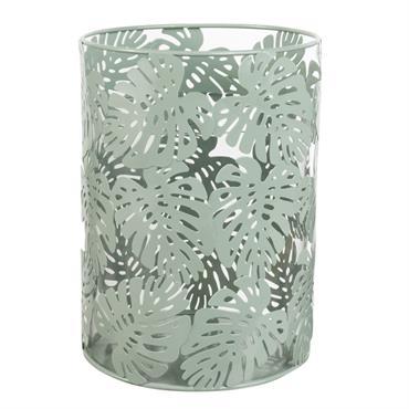 Lanterne en verre et métal vert