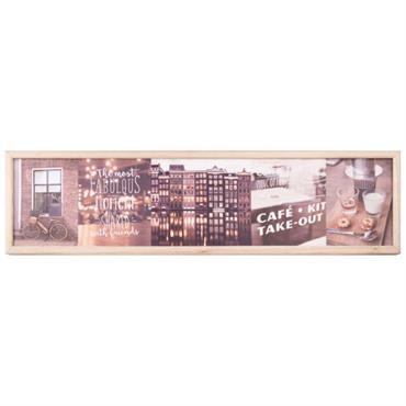 Tableau lumineux ambiances urbaines en paulownia 85x22