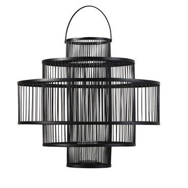 Lanterne en bambou noir et verre H54