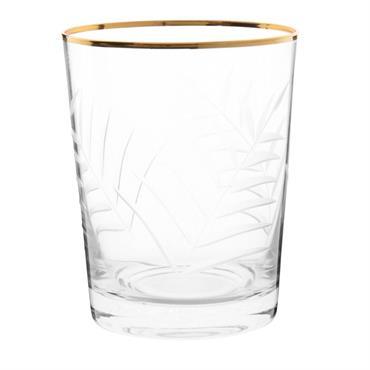 Gobelet en verre gravé imprimé feuille