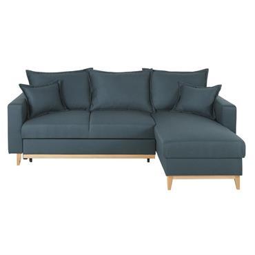 Canapé d'angle convertible 4/5 places bleu nuit Duke