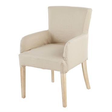 Housse de fauteuil en lin beige