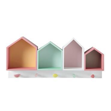 Patère 4 maisons multicolores BERLINGOT