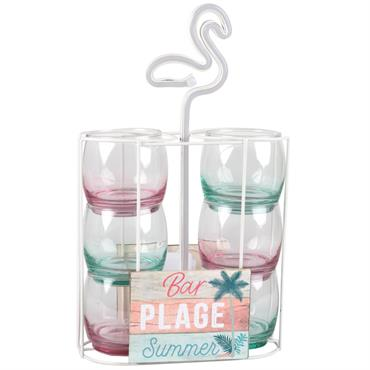 6 verres en verre rose et vert et support flamant rose lumineux