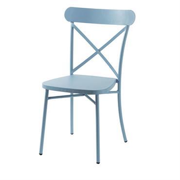 Chaise de jardin bistrot en métal bleu Tradition Outdoor