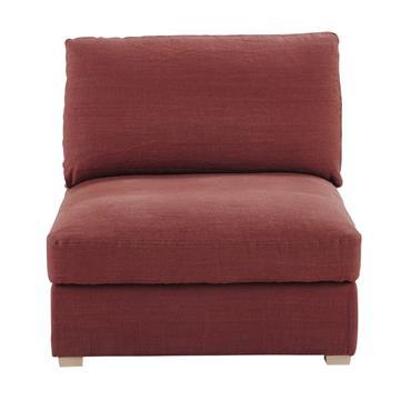 Chauffeuse de canapé modulable en lin lavé terracotta Cesar