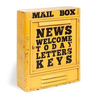 Boîte à clés en métal jaune H 36 cm MAIL BOX