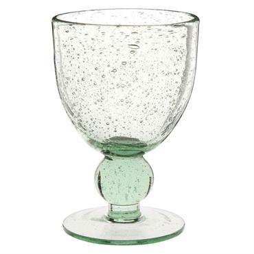 Verre à pied en verre à bulles recyclé teinté vert