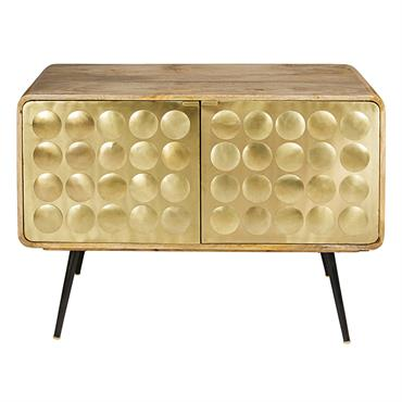 Buffet 2 portes en manguier massif et métal effet doré Gatsby