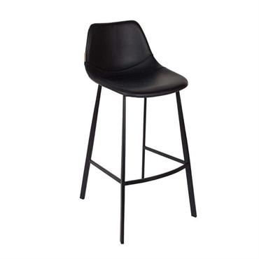 Chaise de bar aspect cuir noir