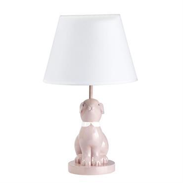 Lampe lapin en céramique rose abat-jour blanc