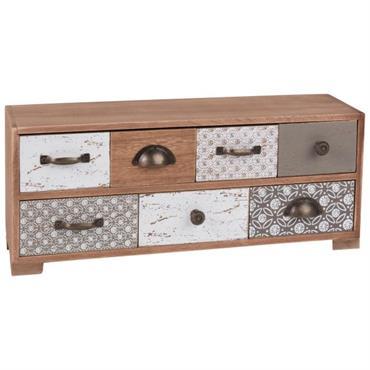 Boîte de rangement 7 tiroirs à motifs