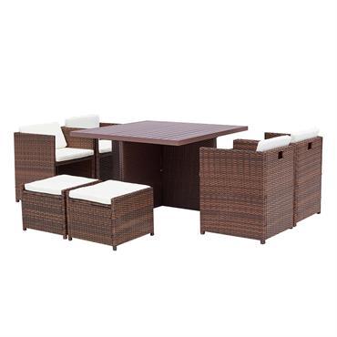 Table et chaise 8 places encastrables alu résine marron/blanc