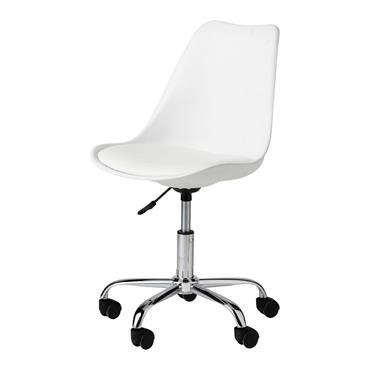 Chaise de bureau à roulettes blanche Bristol