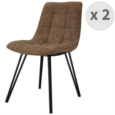LILY-Chaise microfibre vintage brun pieds métal noir