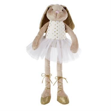 Avec la peluche lapin ballerine JUSTINE , créez un cocon douillet et plein de fantaisie pour votre petite fille ! Habillée d'un tutu en tulle, d'un haut à pois et ...