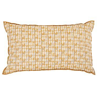 Housse de coussin en coton jaune et écru à broderies 30x50