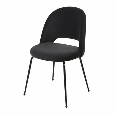 La chaise en velours et métal noirs ISYS est un concentré de chic et de douceur. Campée sur 4 pieds longilignes en métal noir, elle présente une assise accueillante dans ...