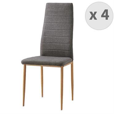 ANNA-Chaises de salle à manger tissu gris pieds effet bois