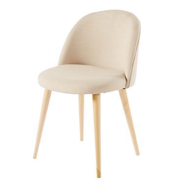 Chaise vintage écrue et bouleau massif Mauricette