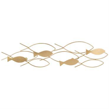 Patère 4 crochets poissons en métal doré