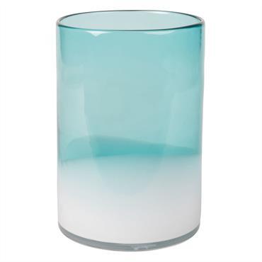 Vase en verre teinté bleu et blanc dégradé H20
