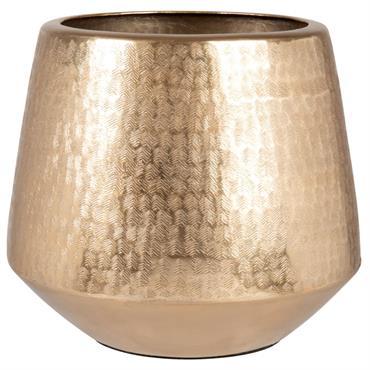 Cache-pot en métal gravé doré H20