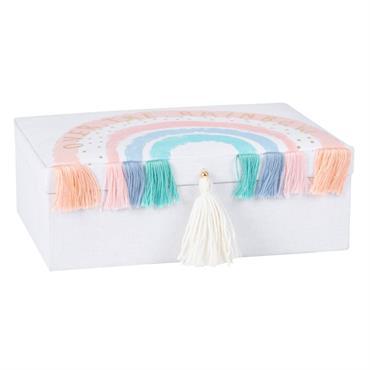 Boîte à bijoux écrue imprimé arc-en-ciel et pompons multicolores