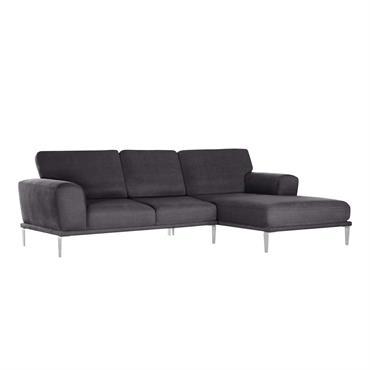 Canapé d'angle droit 5 places toucher coton anthracite