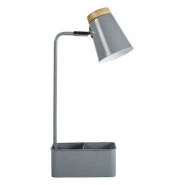 Lampe de bureau avec porte-crayons en métal gris et hévéa