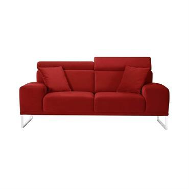 Canapé 2 places en velours rouge glamour