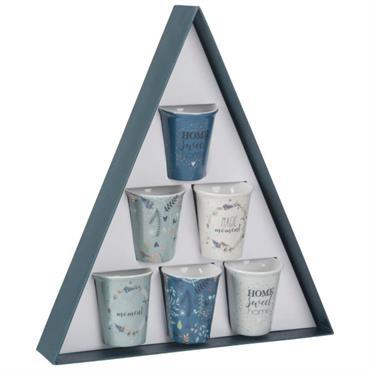 Coffret 6 tasses en porcelaine imprimée