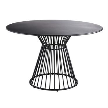 Table de jardin ronde en métal noir mat 4 personnes D121 Meknes